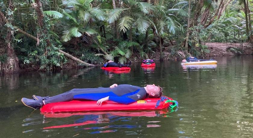 Man floating on Mossman River at Back Country Bliss Adventures